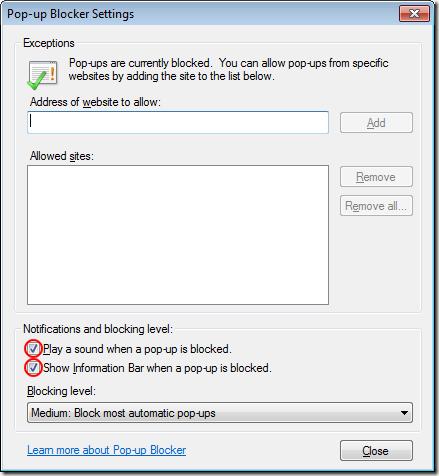 Disable IE8 Pop-up Blocker Alerts